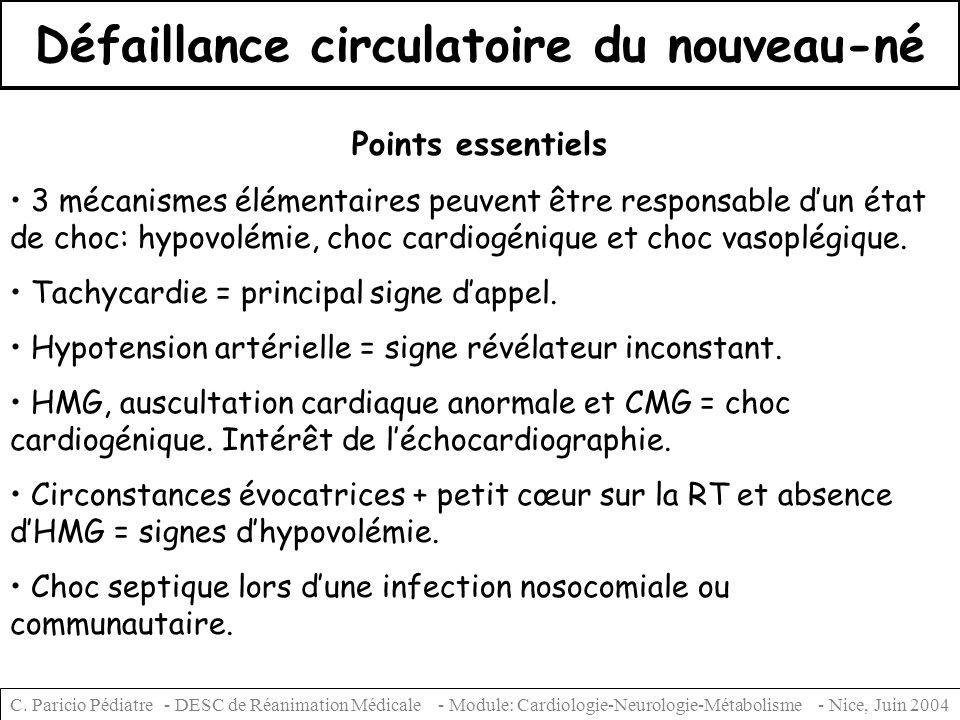 C. Paricio Pédiatre - DESC de Réanimation Médicale - Module: Cardiologie-Neurologie-Métabolisme - Nice, Juin 2004 Défaillance circulatoire du nouveau-