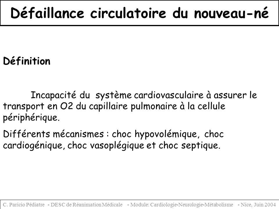 Défaillance circulatoire du nouveau-né Définition Incapacité du système cardiovasculaire à assurer le transport en O2 du capillaire pulmonaire à la ce