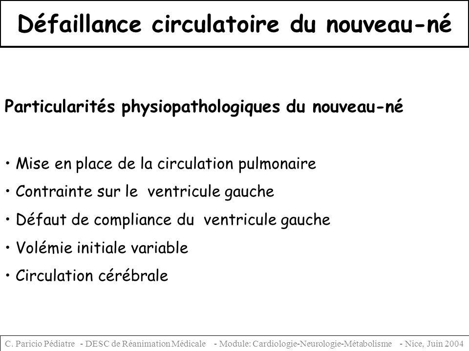 Défaillance circulatoire du nouveau-né Particularités physiopathologiques du nouveau-né Mise en place de la circulation pulmonaire Contrainte sur le v