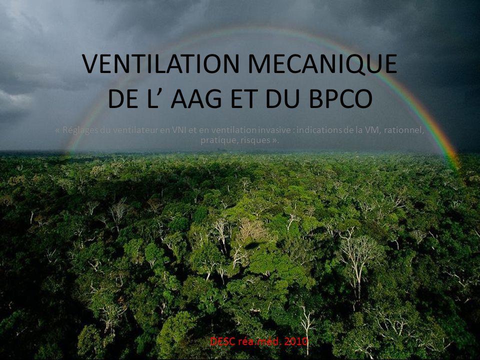 VENTILATION MECANIQUE DE L AAG ET DU BPCO « Réglages du ventilateur en VNI et en ventilation invasive : indications de la VM, rationnel, pratique, ris