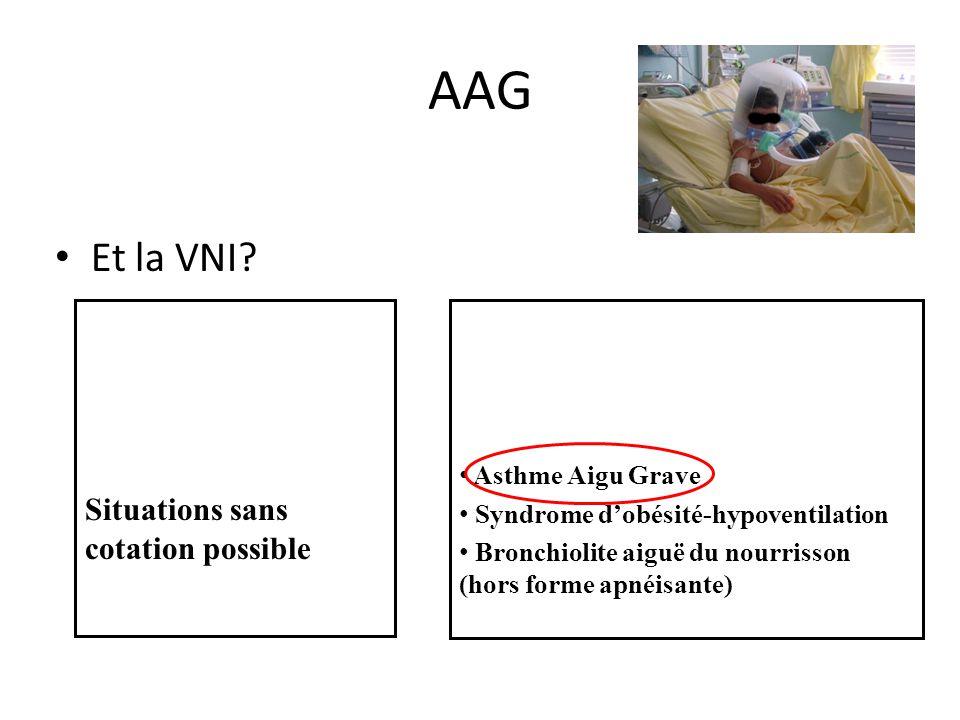 AAG Et la VNI? Situations sans cotation possible Asthme Aigu Grave Syndrome dobésité-hypoventilation Bronchiolite aiguë du nourrisson (hors forme apné