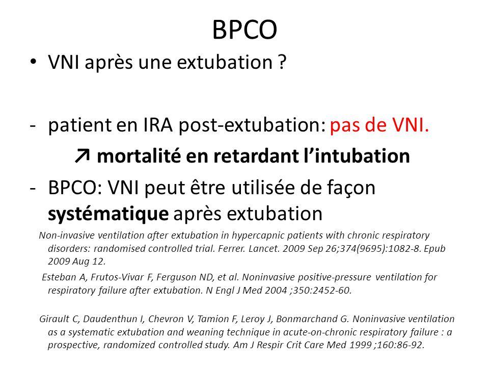 BPCO VNI après une extubation ? -patient en IRA post-extubation: pas de VNI. mortalité en retardant lintubation -BPCO: VNI peut être utilisée de façon