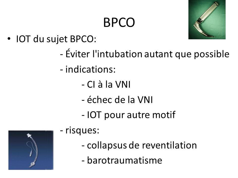 BPCO IOT du sujet BPCO: - Éviter l'intubation autant que possible - indications: - CI à la VNI - échec de la VNI - IOT pour autre motif - risques: - c