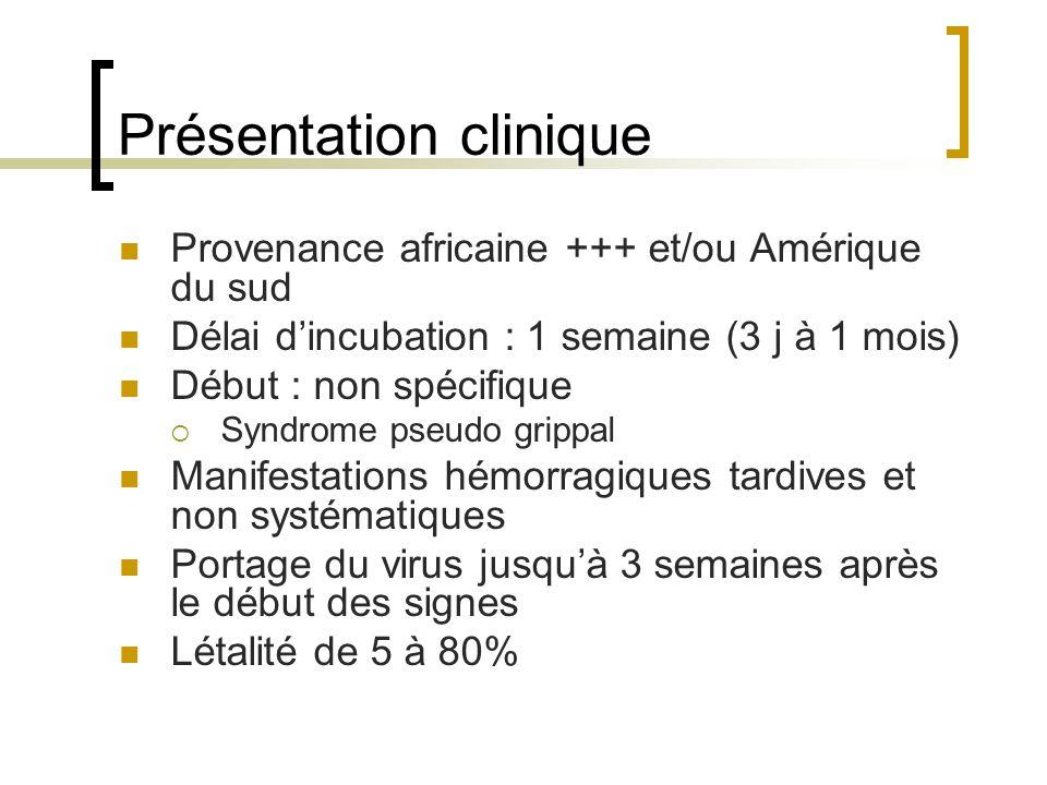 Présentation clinique Provenance africaine +++ et/ou Amérique du sud Délai dincubation : 1 semaine (3 j à 1 mois) Début : non spécifique Syndrome pseu