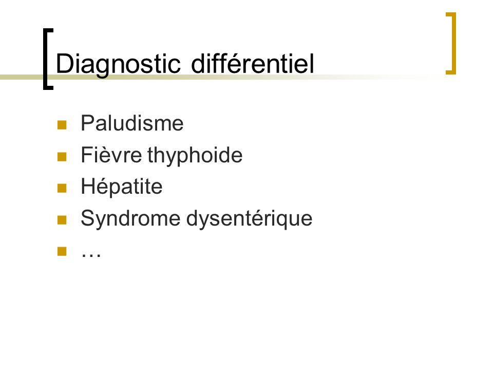 Diagnostic différentiel Paludisme Fièvre thyphoide Hépatite Syndrome dysentérique …