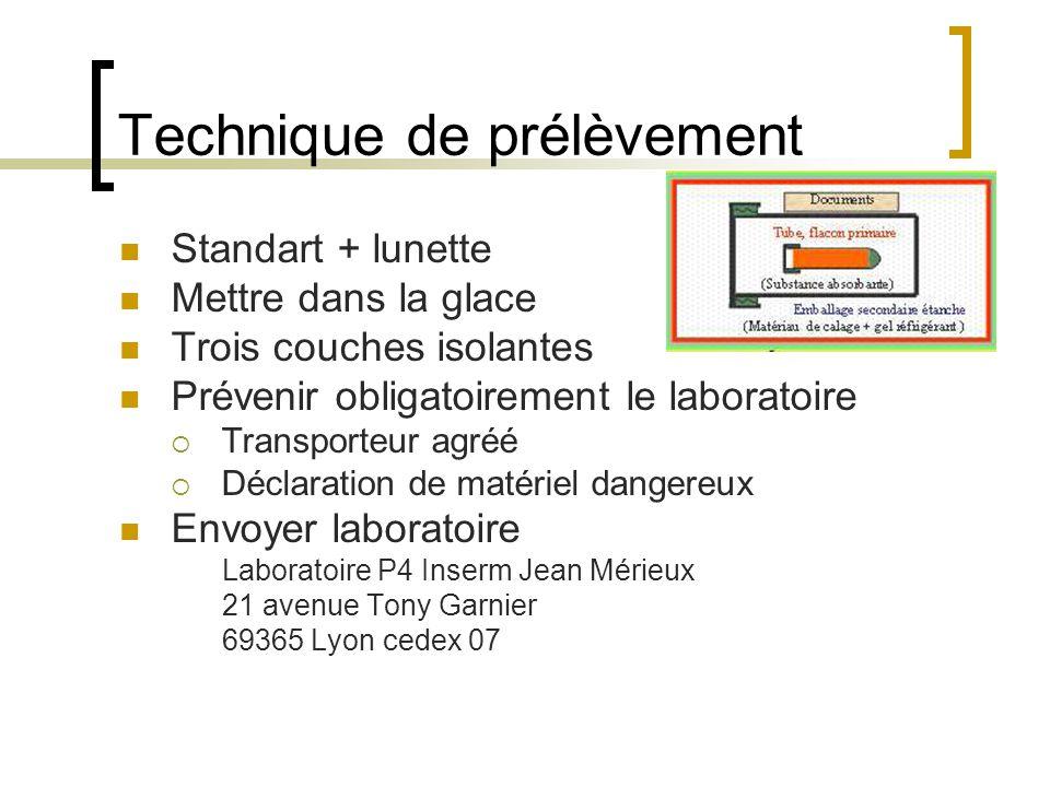 Technique de prélèvement Standart + lunette Mettre dans la glace Trois couches isolantes Prévenir obligatoirement le laboratoire Transporteur agréé Dé