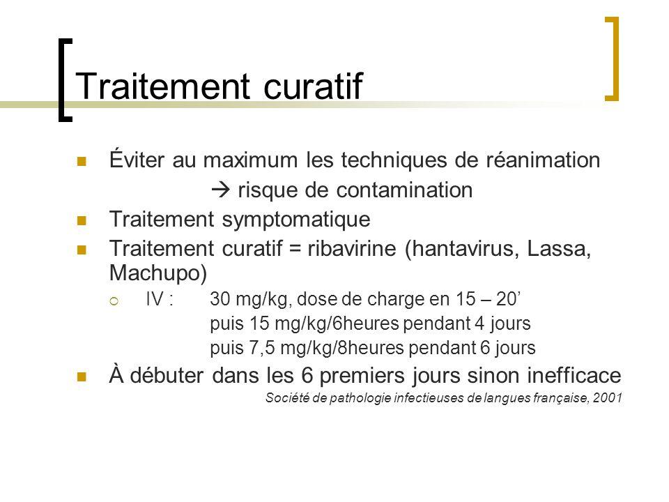 Traitement curatif Éviter au maximum les techniques de réanimation risque de contamination Traitement symptomatique Traitement curatif = ribavirine (h