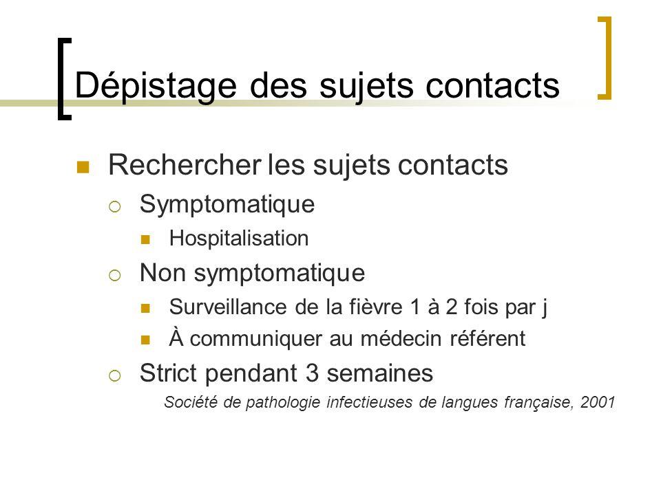 Dépistage des sujets contacts Rechercher les sujets contacts Symptomatique Hospitalisation Non symptomatique Surveillance de la fièvre 1 à 2 fois par