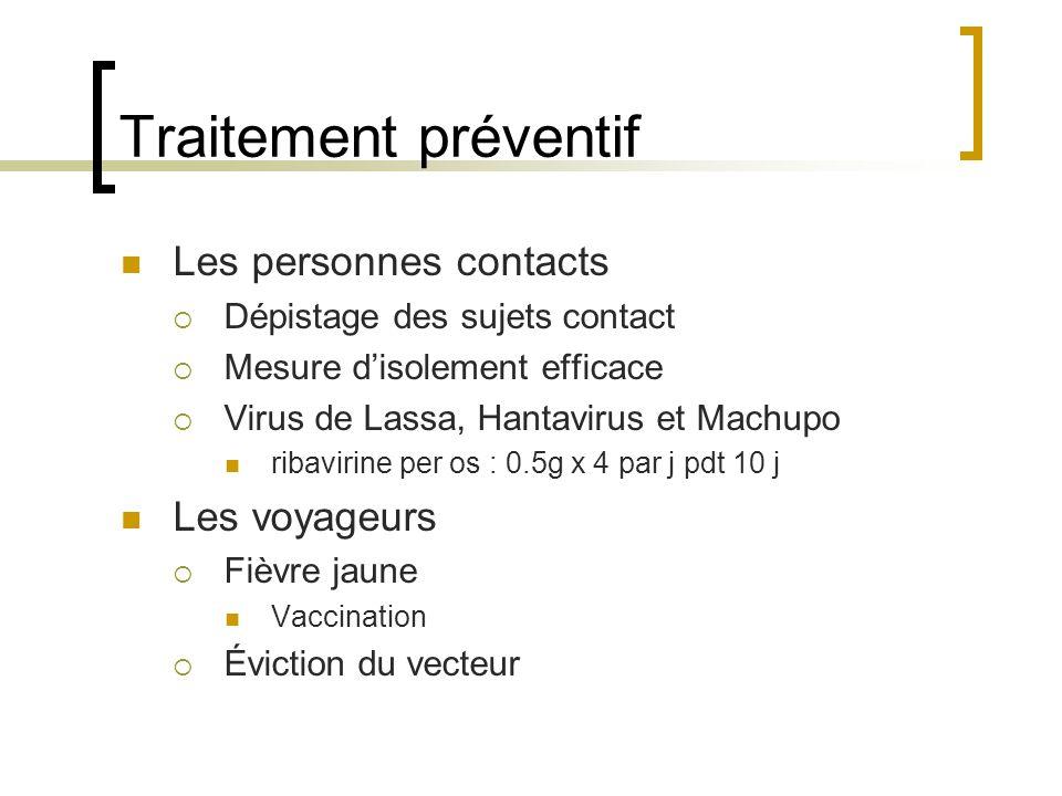 Traitement préventif Les personnes contacts Dépistage des sujets contact Mesure disolement efficace Virus de Lassa, Hantavirus et Machupo ribavirine p