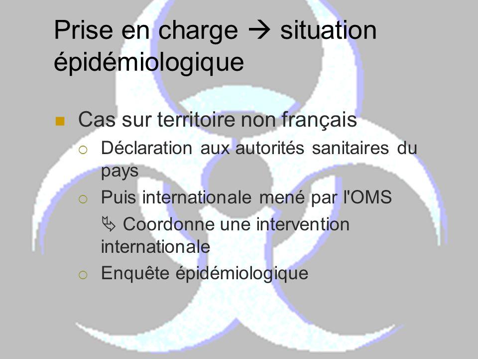 Prise en charge situation épidémiologique Cas sur territoire non français Déclaration aux autorités sanitaires du pays Puis internationale mené par l'