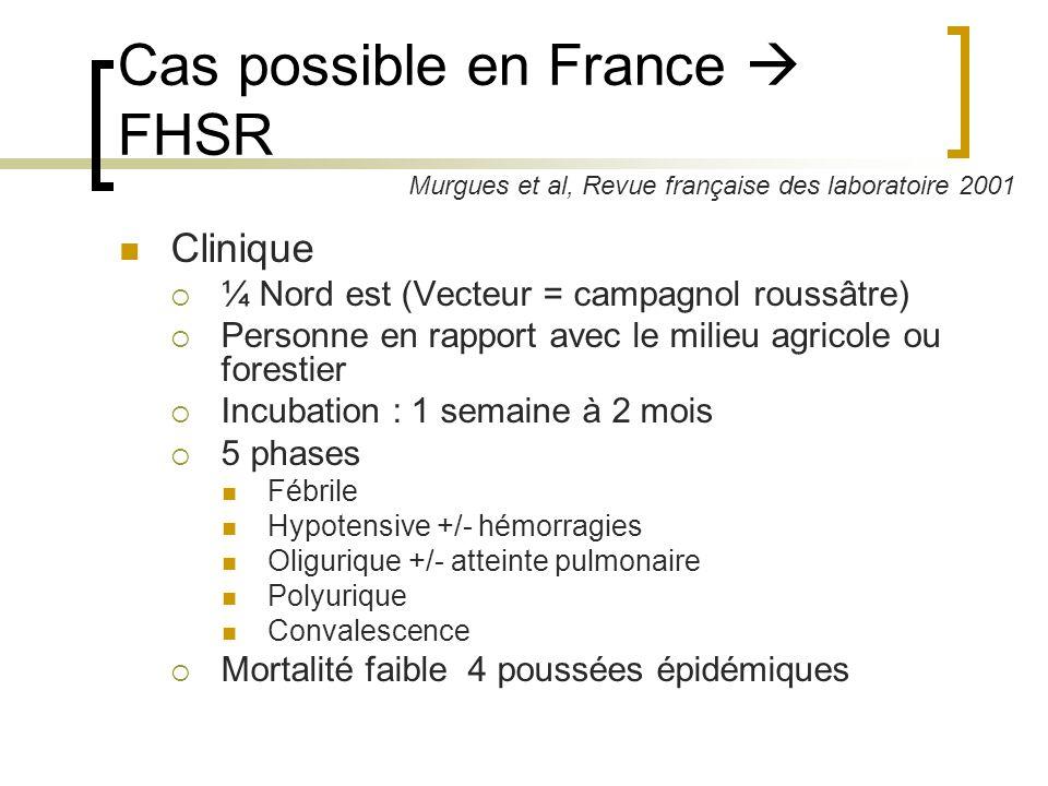 Cas possible en France FHSR Clinique ¼ Nord est (Vecteur = campagnol roussâtre) Personne en rapport avec le milieu agricole ou forestier Incubation :