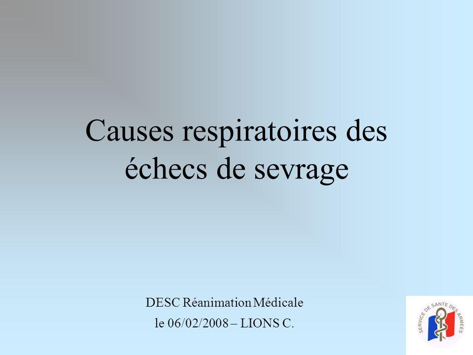Causes respiratoires des échecs de sevrage DESC Réanimation Médicale le 06/02/2008 – LIONS C.