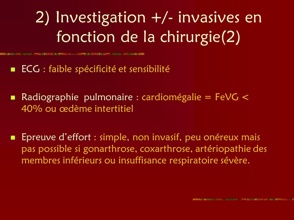 2) Investigation +/- invasives en fonction de la chirurgie(2) ECG : faible spécificité et sensibilité Radiographie pulmonaire : cardiomégalie = FeVG <