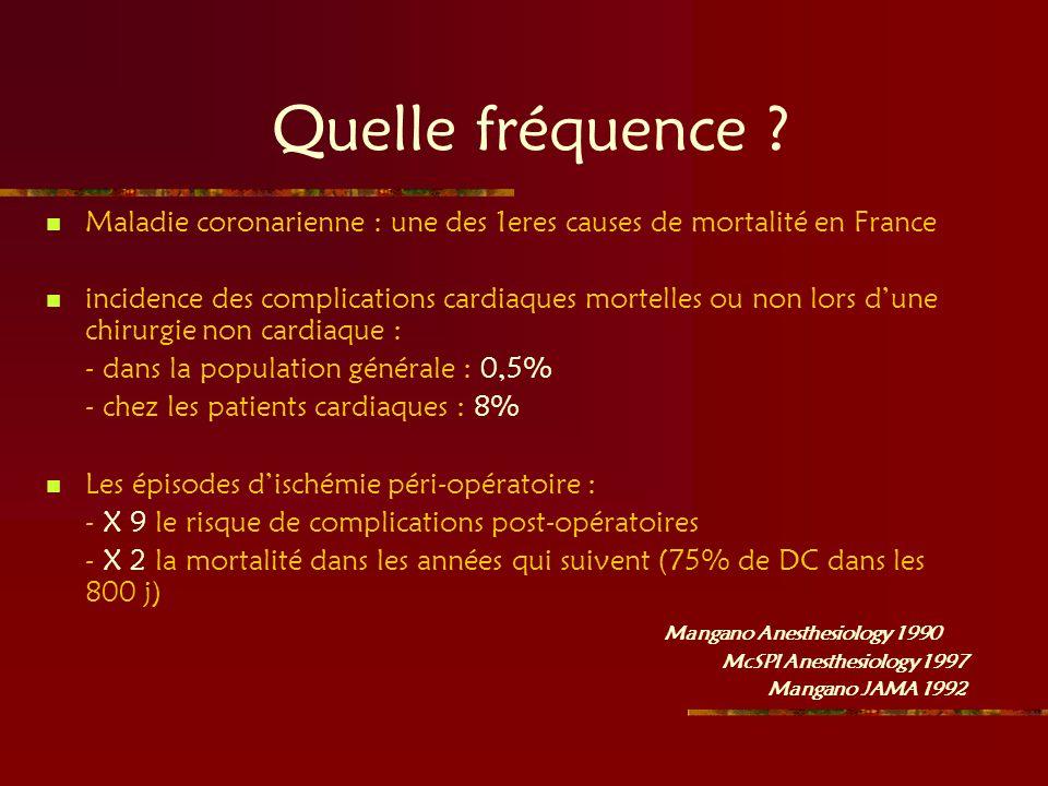 Quelle fréquence ? Maladie coronarienne : une des 1eres causes de mortalité en France incidence des complications cardiaques mortelles ou non lors dun