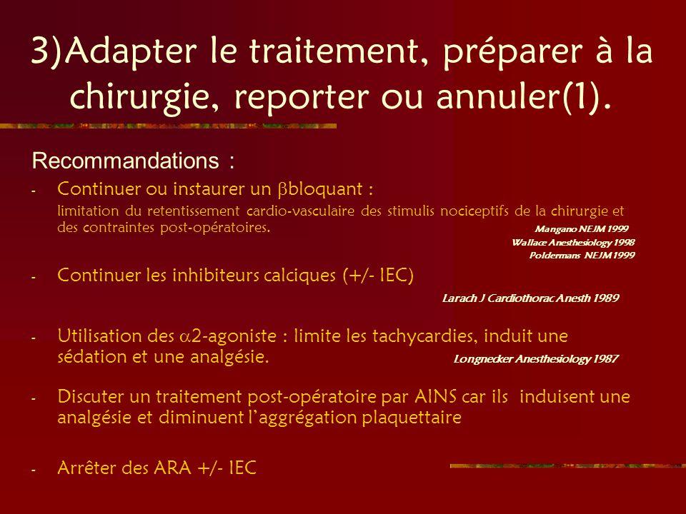3)Adapter le traitement, préparer à la chirurgie, reporter ou annuler(1). Recommandations : - Continuer ou instaurer un bloquant : limitation du reten