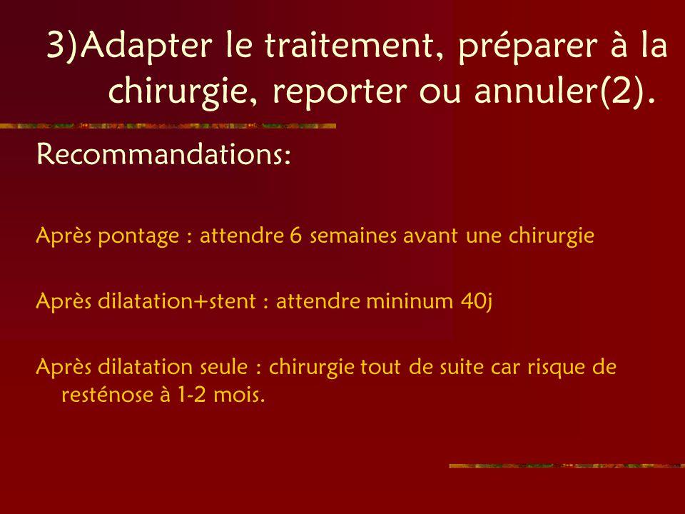 3)Adapter le traitement, préparer à la chirurgie, reporter ou annuler(2). Recommandations: Après pontage : attendre 6 semaines avant une chirurgie Apr