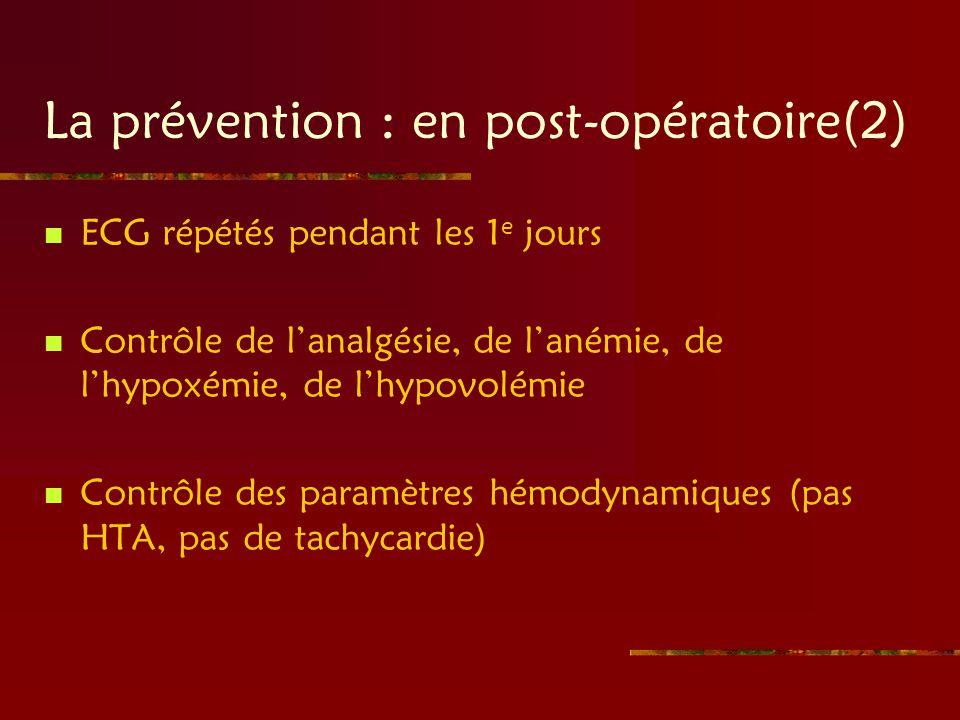 La prévention : en post-opératoire(2) ECG répétés pendant les 1 e jours Contrôle de lanalgésie, de lanémie, de lhypoxémie, de lhypovolémie Contrôle de