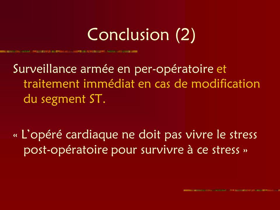 Conclusion (2) Surveillance armée en per-opératoire et traitement immédiat en cas de modification du segment ST. « Lopéré cardiaque ne doit pas vivre