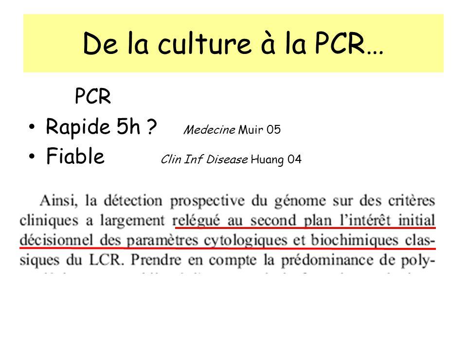 De la culture à la PCR… PCR Rapide 5h ? Medecine Muir 05 Fiable Clin Inf Disease Huang 04