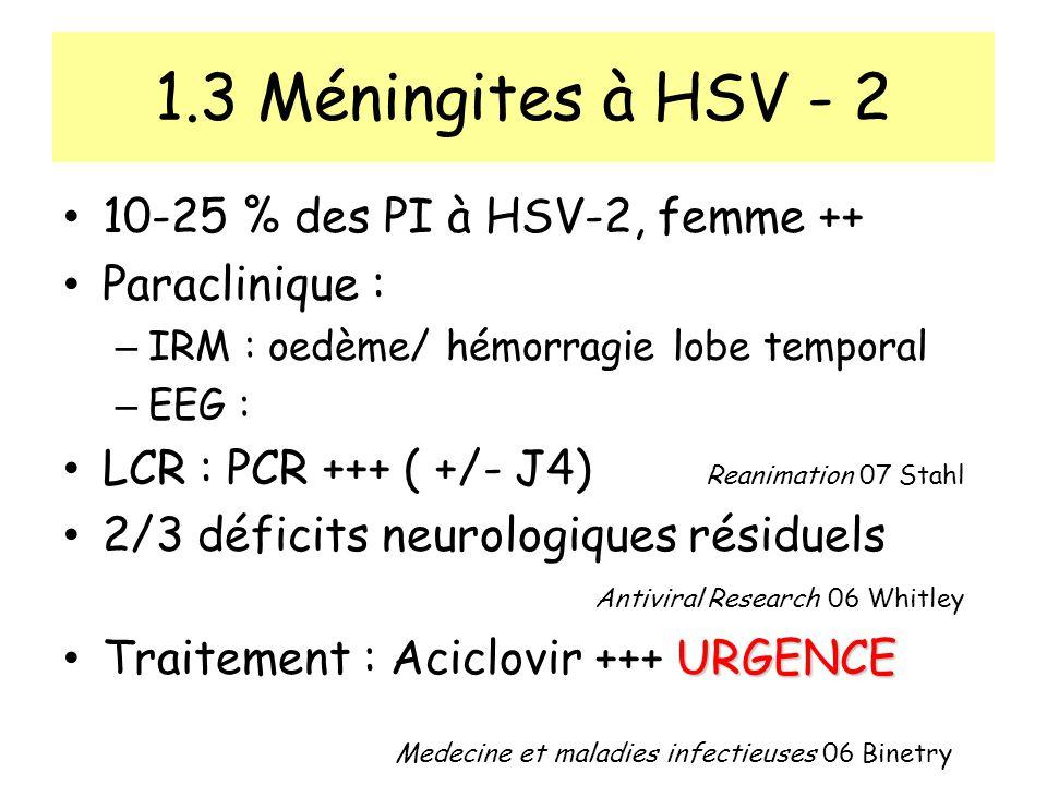 1.3 Méningites à HSV - 2 10-25 % des PI à HSV-2, femme ++ Paraclinique : – IRM : oedème/ hémorragie lobe temporal – EEG : LCR : PCR +++ ( +/- J4) Reanimation 07 Stahl 2/3 déficits neurologiques résiduels Antiviral Research 06 Whitley URGENCE Traitement : Aciclovir +++ URGENCE Medecine et maladies infectieuses 06 Binetry