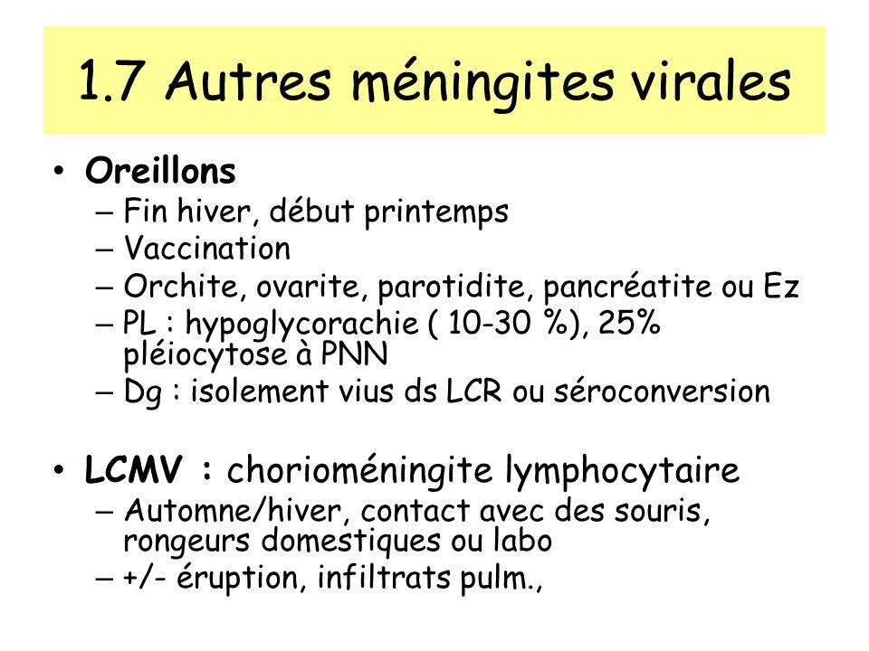 1.7 Autres méningites virales Oreillons – Fin hiver, début printemps – Vaccination – Orchite, ovarite, parotidite, pancréatite ou Ez – PL : hypoglycorachie ( 10-30 %), 25% pléiocytose à PNN – Dg : isolement vius ds LCR ou séroconversion LCMV : chorioméningite lymphocytaire – Automne/hiver, contact avec des souris, rongeurs domestiques ou labo – +/- éruption, infiltrats pulm.,