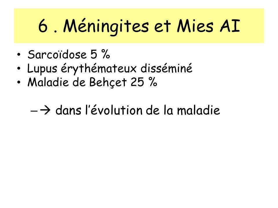 6. Méningites et Mies AI Sarcoïdose 5 % Lupus érythémateux disséminé Maladie de Behçet 25 % – dans lévolution de la maladie