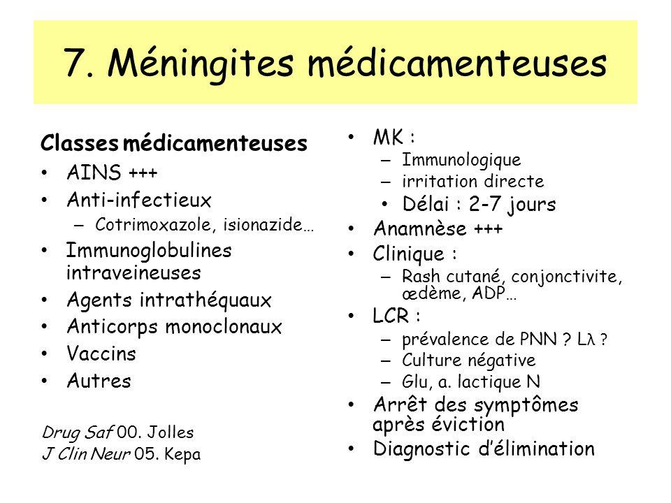 7. Méningites médicamenteuses Classes médicamenteuses AINS +++ Anti-infectieux – Cotrimoxazole, isionazide… Immunoglobulines intraveineuses Agents int