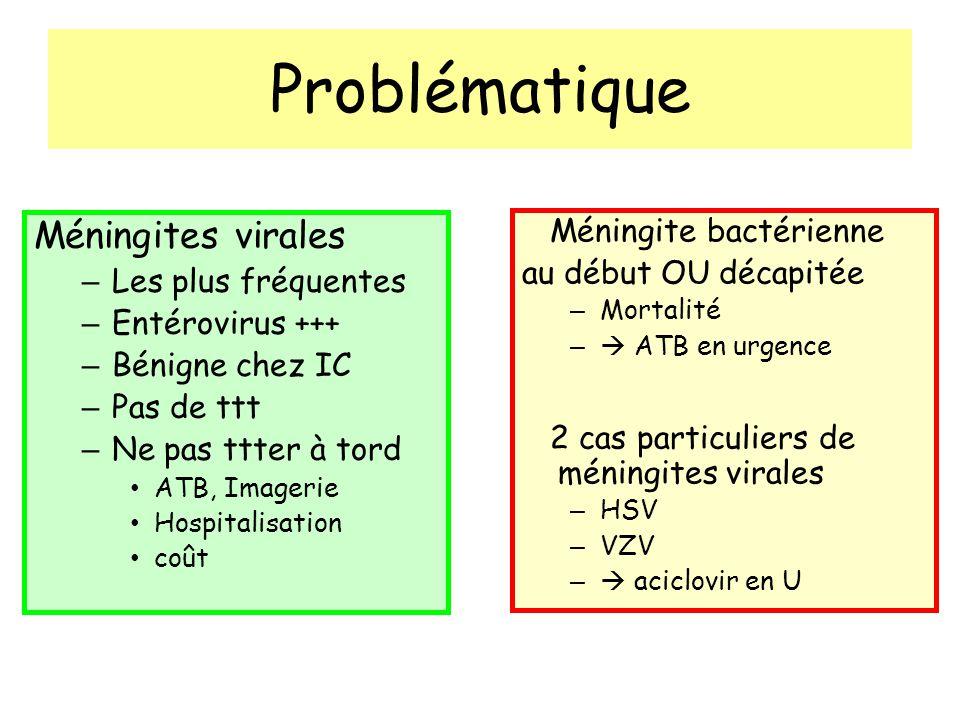 Problématique Méningites virales – Les plus fréquentes – Entérovirus +++ – Bénigne chez IC – Pas de ttt – Ne pas ttter à tord ATB, Imagerie Hospitalisation coût Méningite bactérienne au début OU décapitée – Mortalité – ATB en urgence 2 cas particuliers de méningites virales – HSV – VZV – aciclovir en U