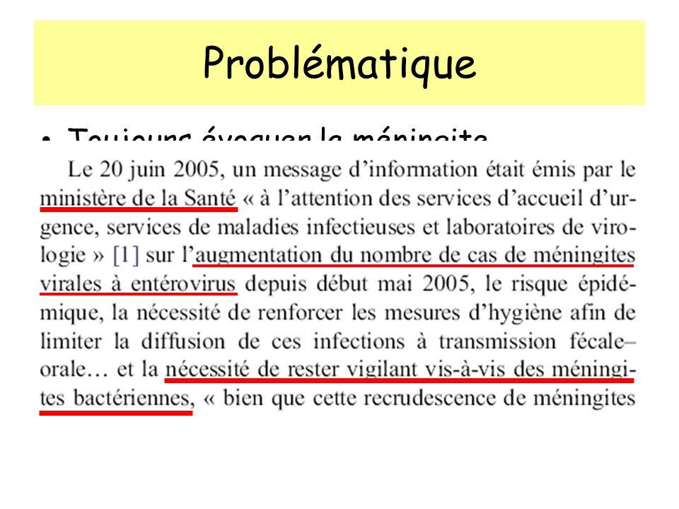 Problématique Toujours évoquer la méningite bactérienne +++ Mortalité, ATB en urgence
