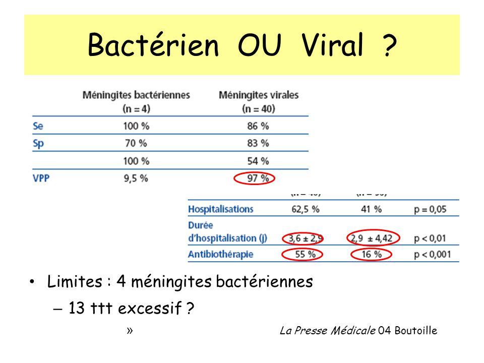 Bactérien OU Viral .Limites : 4 méningites bactériennes – 13 ttt excessif .