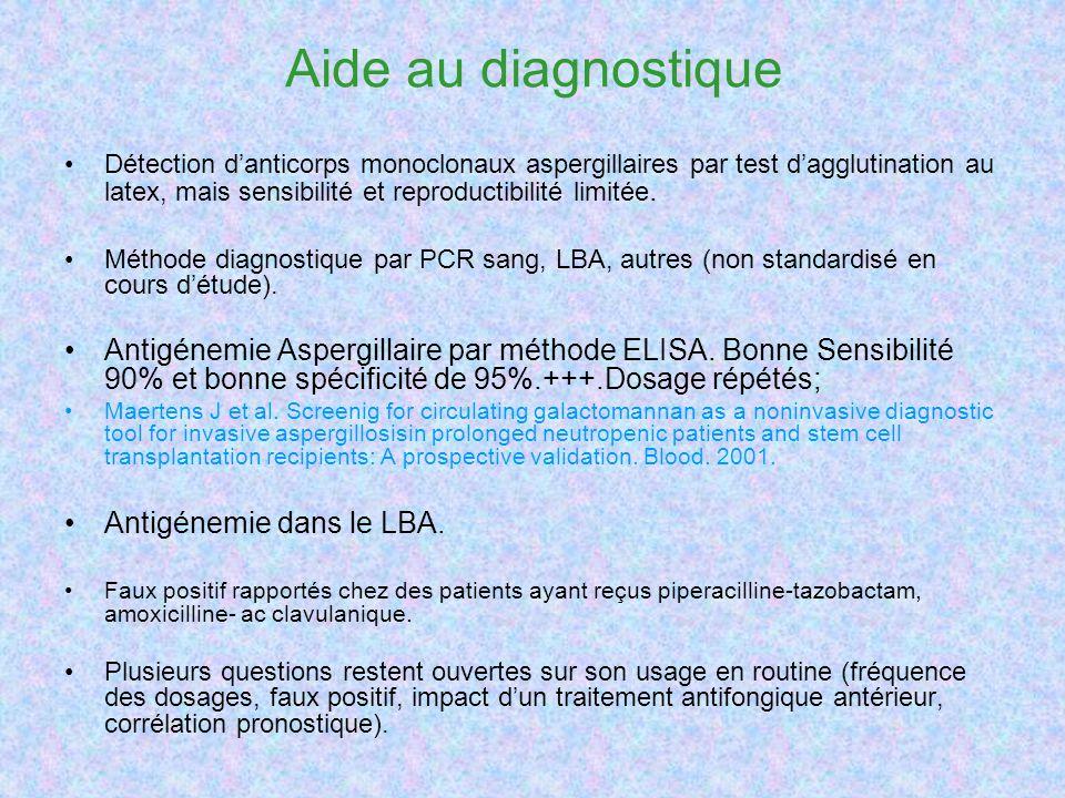 Aide au diagnostique Détection danticorps monoclonaux aspergillaires par test dagglutination au latex, mais sensibilité et reproductibilité limitée. M