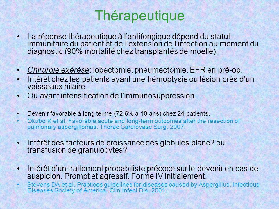 Thérapeutique La réponse thérapeutique à lantifongique dépend du statut immunitaire du patient et de lextension de linfection au moment du diagnostic (90% mortalité chez transplantés de moelle).