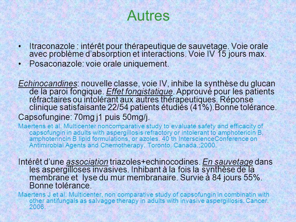 Autres Itraconazole : intérêt pour thérapeutique de sauvetage.