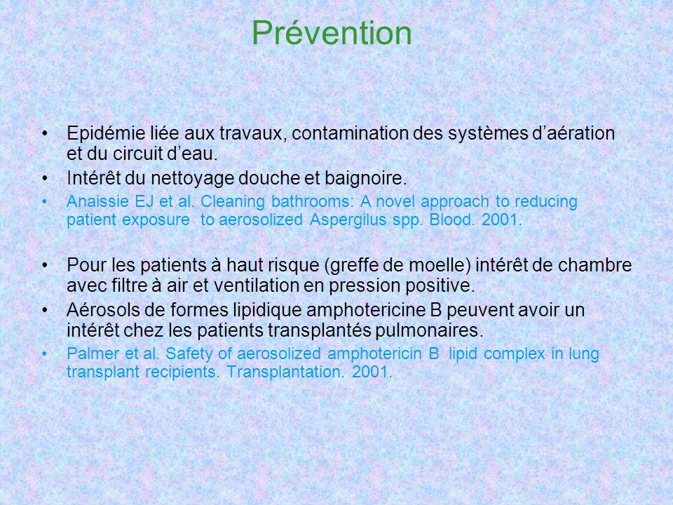 Prévention Epidémie liée aux travaux, contamination des systèmes daération et du circuit deau. Intérêt du nettoyage douche et baignoire. Anaissie EJ e