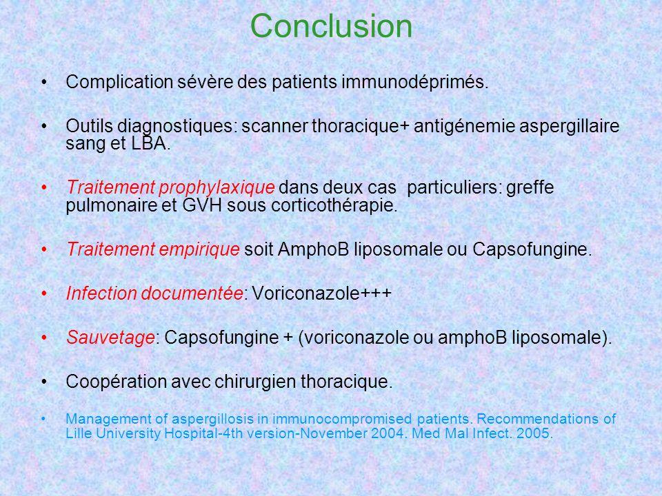 Conclusion Complication sévère des patients immunodéprimés. Outils diagnostiques: scanner thoracique+ antigénemie aspergillaire sang et LBA. Traitemen