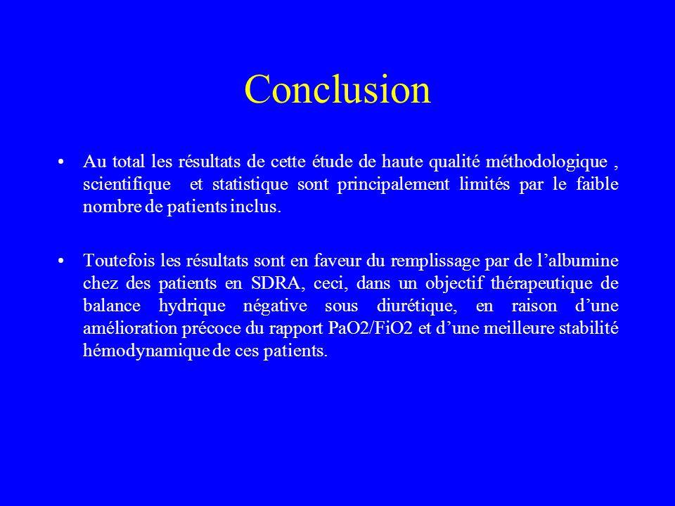 Conclusion Au total les résultats de cette étude de haute qualité méthodologique, scientifique et statistique sont principalement limités par le faibl