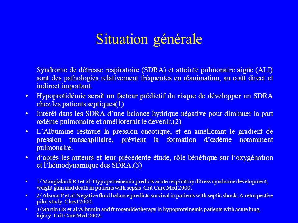Situation générale Syndrome de détresse respiratoire (SDRA) et atteinte pulmonaire aigüe (ALI) sont des pathologies relativement fréquentes en réanima
