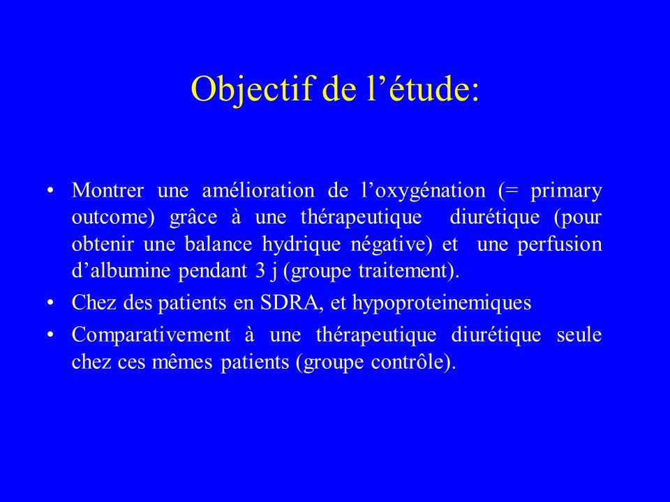 Objectif de létude: Montrer une amélioration de loxygénation (= primary outcome) grâce à une thérapeutique diurétique (pour obtenir une balance hydriq