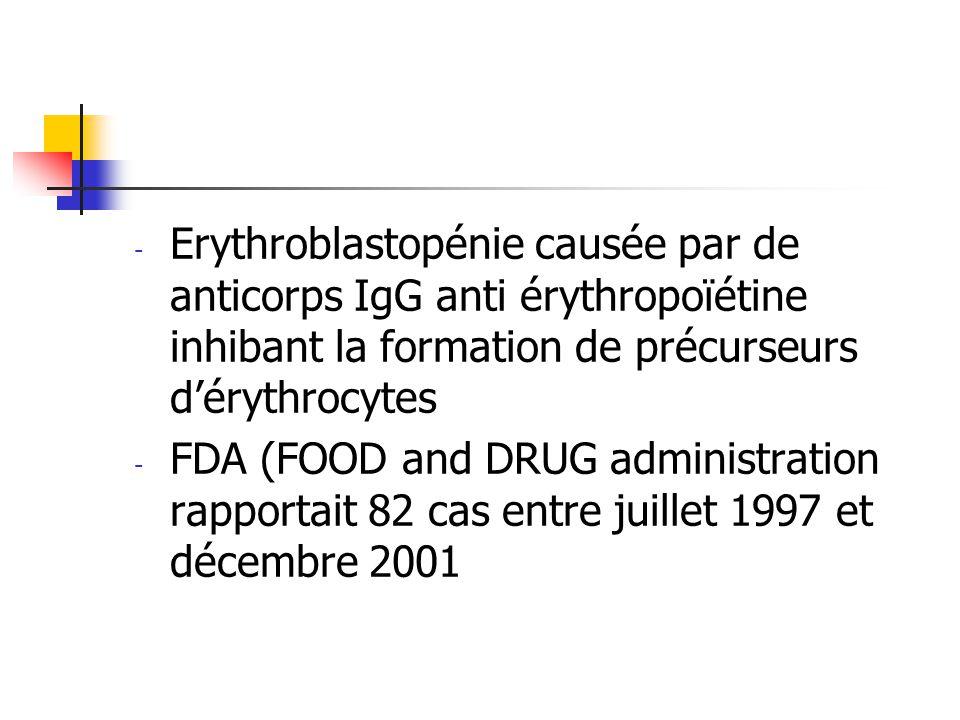 - Erythroblastopénie causée par de anticorps IgG anti érythropoïétine inhibant la formation de précurseurs dérythrocytes - FDA (FOOD and DRUG administ