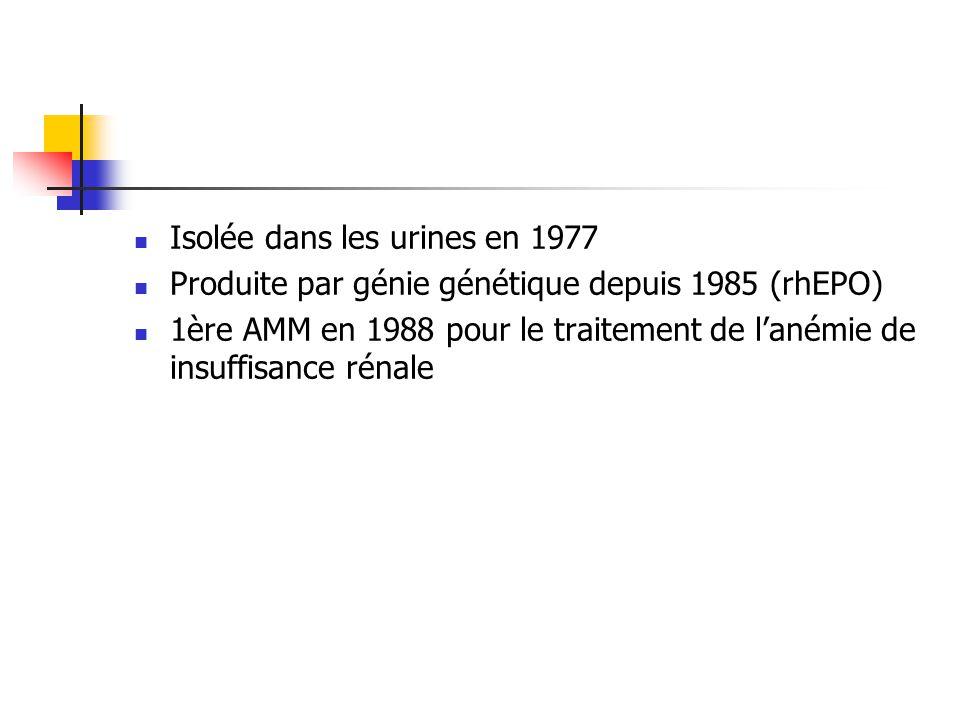 Isolée dans les urines en 1977 Produite par génie génétique depuis 1985 (rhEPO) 1ère AMM en 1988 pour le traitement de lanémie de insuffisance rénale