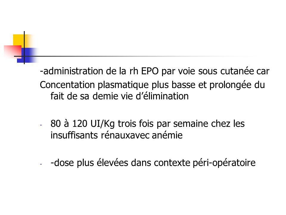 -administration de la rh EPO par voie sous cutanée car Concentation plasmatique plus basse et prolongée du fait de sa demie vie délimination - 80 à 12