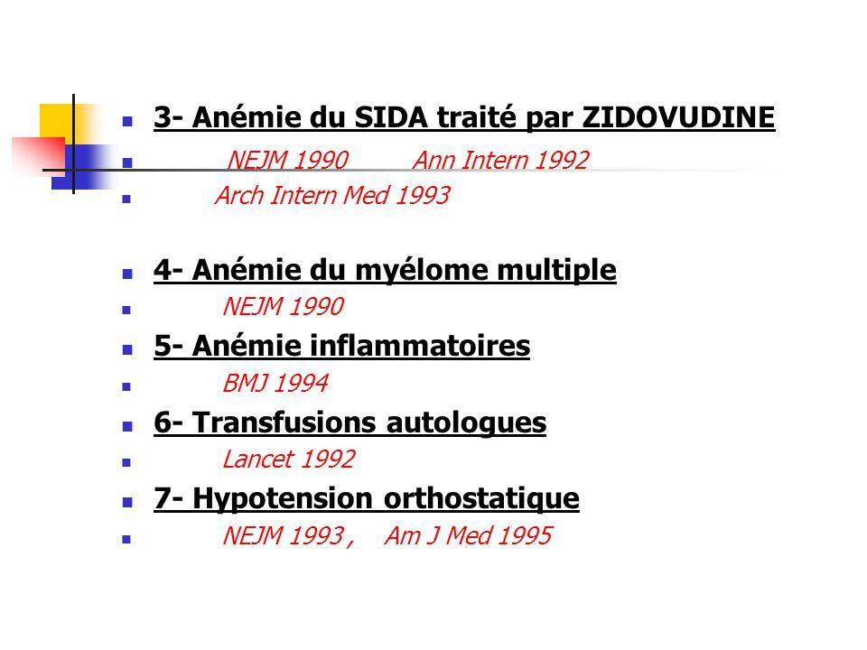 3- Anémie du SIDA traité par ZIDOVUDINE NEJM 1990 Ann Intern 1992 Arch Intern Med 1993 4- Anémie du myélome multiple NEJM 1990 5- Anémie inflammatoire
