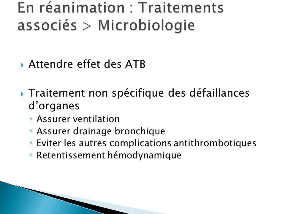 Attendre effet des ATB Traitement non spécifique des défaillances dorganes Assurer ventilation Assurer drainage bronchique Eviter les autres complications antithrombotiques Retentissement hémodynamique