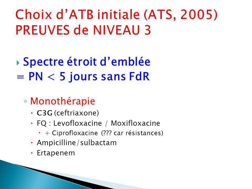 Spectre étroit demblée = PN < 5 jours sans FdR Monothérapie C3G (ceftriaxone) FQ : Levofloxacine / Moxifloxacine + Ciprofloxacine (??.