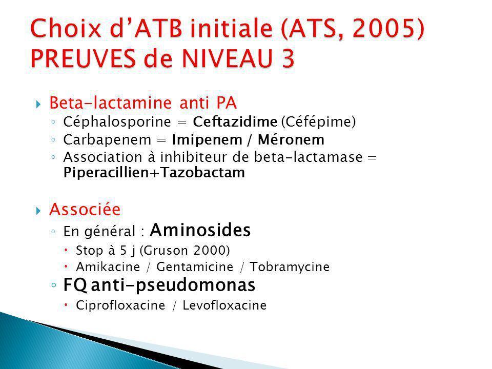 Beta-lactamine anti PA Céphalosporine = Ceftazidime (Céfépime) Carbapenem = Imipenem / Méronem Association à inhibiteur de beta-lactamase = Piperacillien+Tazobactam Associée En général : Aminosides Stop à 5 j (Gruson 2000) Amikacine / Gentamicine / Tobramycine FQ anti-pseudomonas Ciprofloxacine / Levofloxacine