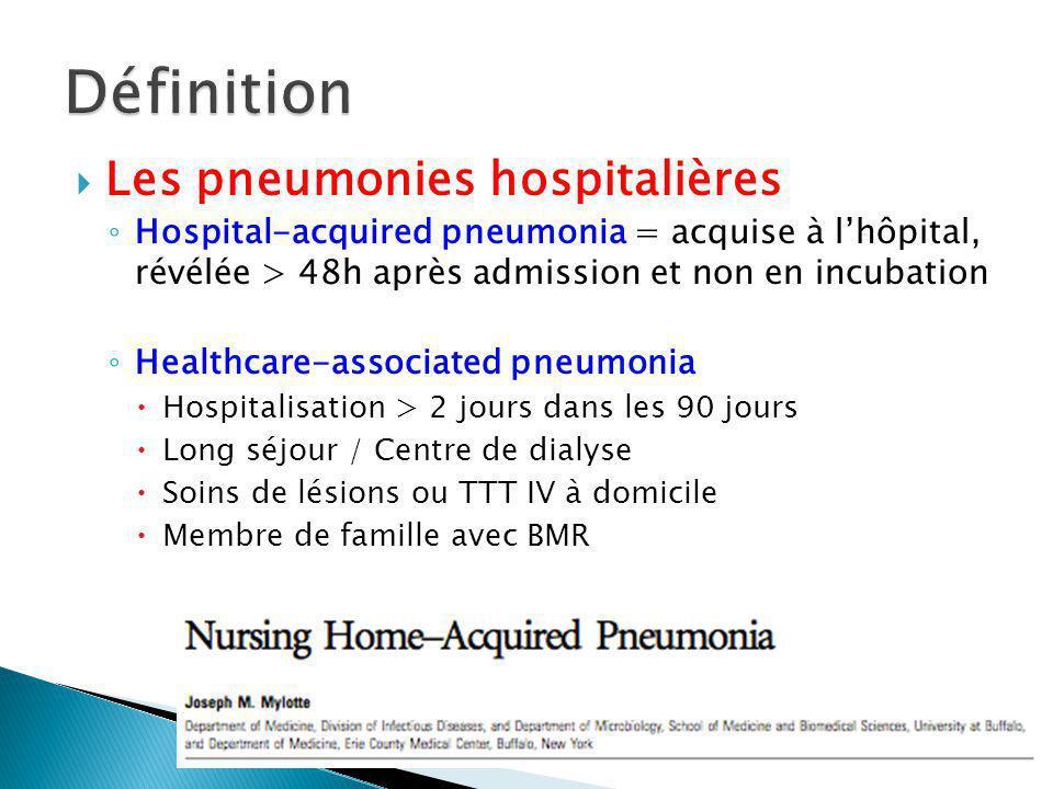 Les pneumonies hospitalières Hospital-acquired pneumonia = acquise à lhôpital, révélée > 48h après admission et non en incubation Healthcare-associated pneumonia Hospitalisation > 2 jours dans les 90 jours Long séjour / Centre de dialyse Soins de lésions ou TTT IV à domicile Membre de famille avec BMR