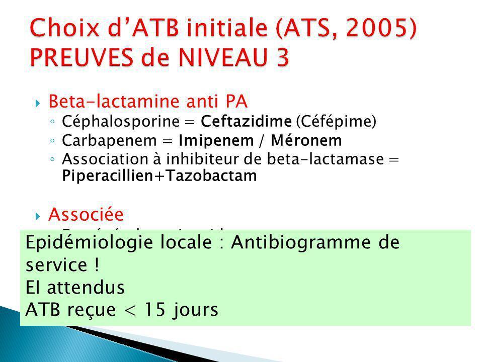 Beta-lactamine anti PA Céphalosporine = Ceftazidime (Céfépime) Carbapenem = Imipenem / Méronem Association à inhibiteur de beta-lactamase = Piperacillien+Tazobactam Associée En général : aminosides Stop à 5 j (Gruson 2000) Amikacine / Gentamicine / Tobramycine FQ anti-pseudomonas Ciprofloxacine / Levofloxacine Epidémiologie locale : Antibiogramme de service .