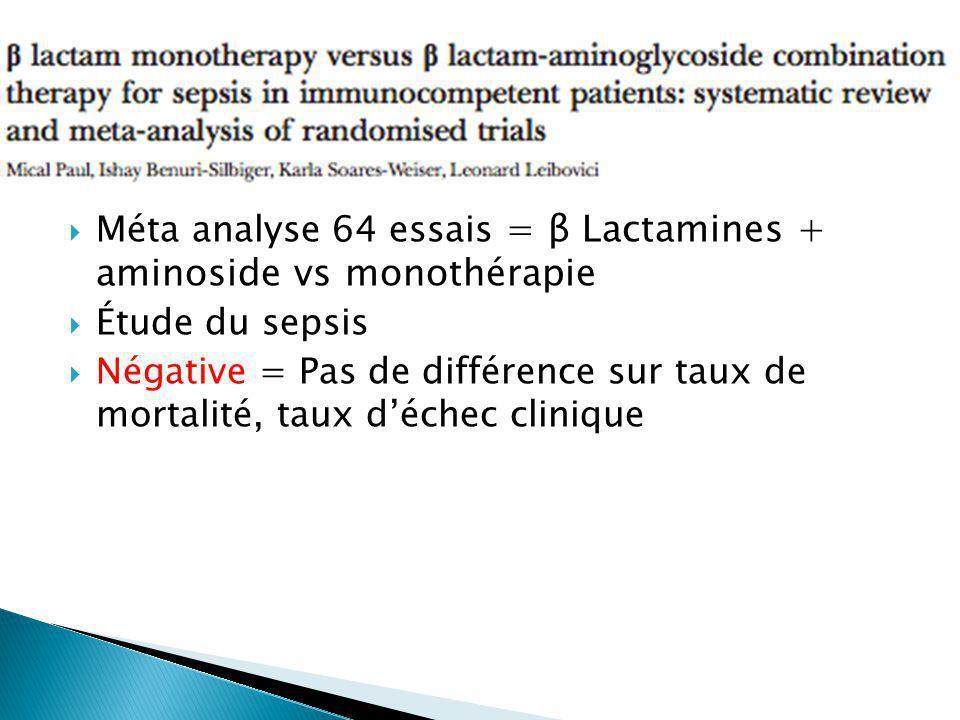 Méta analyse 64 essais = β Lactamines + aminoside vs monothérapie Étude du sepsis Négative = Pas de différence sur taux de mortalité, taux déchec clinique
