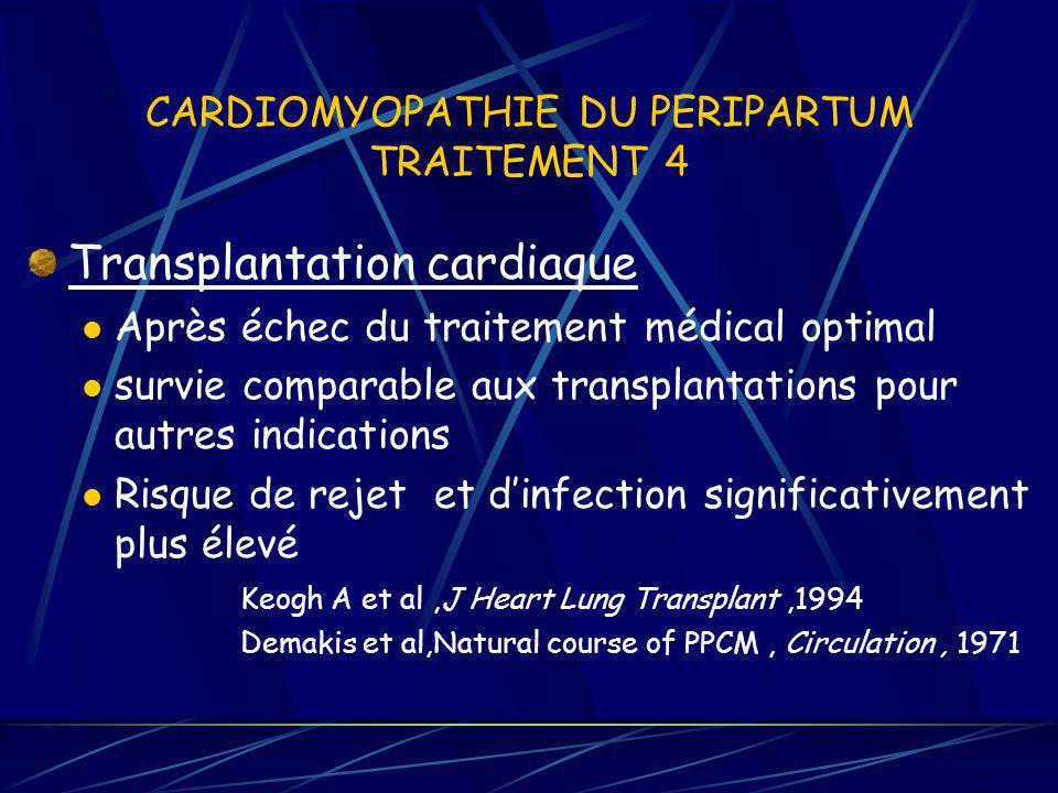 CARDIOMYOPATHIE DU PERIPARTUM TRAITEMENT 4 Transplantation cardiaque Après échec du traitement médical optimal survie comparable aux transplantations