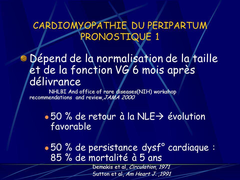 CARDIOMYOPATHIE DU PERIPARTUM PRONOSTIQUE 1 Dépend de la normalisation de la taille et de la fonction VG 6 mois après délivrance NHLBI And office of r